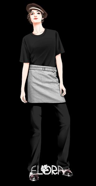 黑TSHIRT短圍裙貝雷帽.3